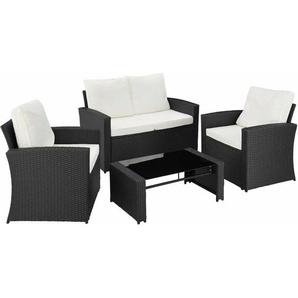 Rattan Lounge Lucca - Gartenlounge, Terrassenmöbel, Rattan Lounge - schwarz - TECTAKE