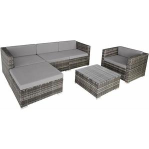 Rattan Lounge mit Stahlgestell Milano - Loungemöbel, Gartenmöbel, Gartengarnitur - grau - TECTAKE