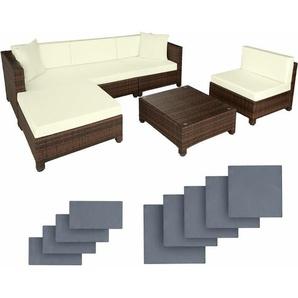 Rattan Lounge mit Aluminiumgestell inkl. Bezüge in 2 Farben - Loungemöbel, Gartenmöbel, Gartengarnitur - schwarz/braun - TECTAKE