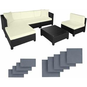 Rattan Lounge mit Aluminiumgestell inkl. Bezüge in 2 Farben - Loungemöbel, Gartenmöbel, Gartengarnitur - schwarz - TECTAKE
