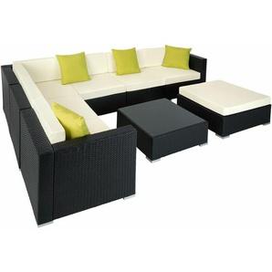 Rattan Lounge mit Aluminiumgestell Marbella - Gartenlounge, Terrassenmöbel, Rattan Lounge - schwarz - TECTAKE