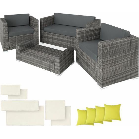 Rattan Lounge mit Aluminiumgestell München inkl. Bezüge in 2 Farben - Gartenlounge, Terrassenmöbel, Rattan Lounge - grau