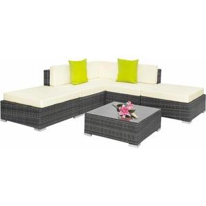 Rattan Lounge mit Aluminiumgestell Paris - Loungemöbel, Gartenmöbel, Gartengarnitur - grau - TECTAKE