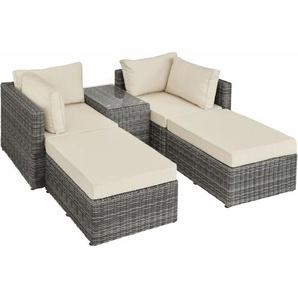 Rattan Lounge mit Aluminiumgestell San Domino - Gartenlounge, Terrassenmöbel, Rattan Lounge - grau - TECTAKE