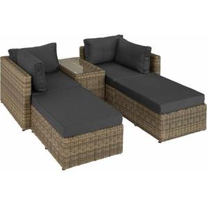 Rattan Lounge mit Aluminiumgestell San Domino - Gartenlounge, Terrassenmöbel, Rattan Lounge - natur - TECTAKE