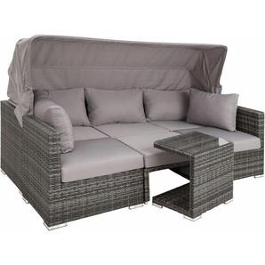 Rattan Lounge mit Aluminiumgestell San Marino - Gartenlounge, Terrassenmöbel, Rattan Lounge - grau - TECTAKE