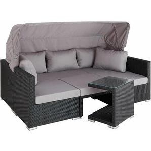 Rattan Lounge mit Aluminiumgestell San Marino - Gartenlounge, Terrassenmöbel, Rattan Lounge - schwarz - TECTAKE