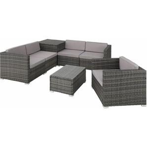 Rattan Lounge Pisa - Gartenlounge, Terrassenmöbel, Rattan Lounge - grau - TECTAKE