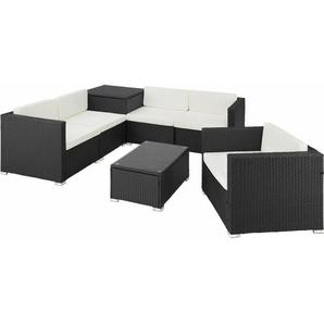 Rattan Lounge Pisa - Gartenlounge, Terrassenmöbel, Rattan Lounge - schwarz - TECTAKE