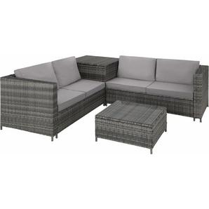 Rattan Lounge Siena - Gartenlounge, Terrassenmöbel, Rattan Lounge - grau - TECTAKE