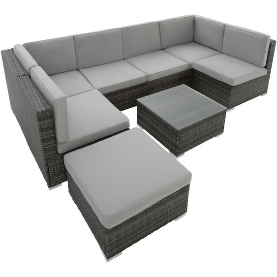 Rattan Lounge Venedig - Gartenlounge, Terrassenmöbel, Rattan Lounge - grau