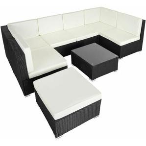Rattan Lounge mit Stahlgestell Venedig - Gartenlounge, Terrassenmöbel, Rattan Lounge - schwarz - TECTAKE