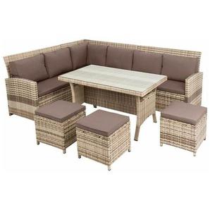 Rattan Sitzgruppe 20tlg Garten Lounge Möbel Gartenmöbel Set Sofa Essgruppe beige - ESTEXO