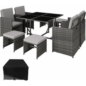 Rattan Sitzgruppe Bilbao 4+4+1 mit Schutzhülle - Gartenlounge, Terrassenmöbel, Rattan Lounge - grau - TECTAKE