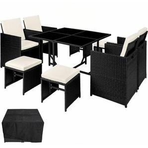 Rattan Sitzgruppe Bilbao 4+4+1 mit Schutzhülle - Gartenlounge, Terrassenmöbel, Rattan Lounge - schwarz - TECTAKE