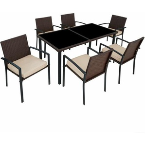 Rattan Sitzgruppe Brixen 6+1 - Gartenlounge, Terrassenmöbel, Rattan Lounge - braun - TECTAKE