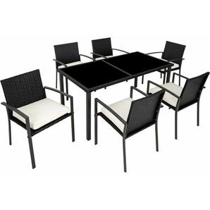 Rattan Sitzgruppe Brixen 6+1 - Gartenlounge, Terrassenmöbel, Rattan Lounge - schwarz - TECTAKE