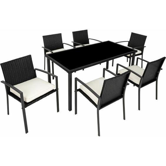 Rattan Sitzgruppe Brixen 6+1 - Gartenlounge, Terrassenmöbel, Rattan Lounge - schwarz