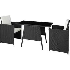Rattan Sitzgruppe Lausanne - Gartenlounge, Terrassenmöbel, Rattan Lounge - schwarz - TECTAKE