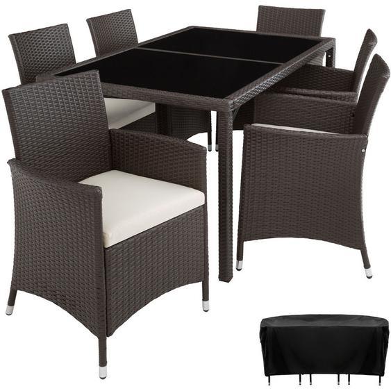 Rattan Sitzgruppe Lissabon 6+1 mit Schutzhülle - Gartenlounge, Terrassenmöbel, Rattan Lounge - antikbraun