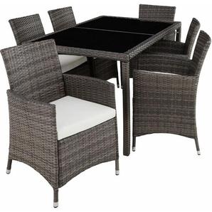 Rattan Sitzgruppe Lissabon 6+1 mit Schutzhülle - Gartenlounge, Terrassenmöbel, Rattan Lounge - grau - TECTAKE