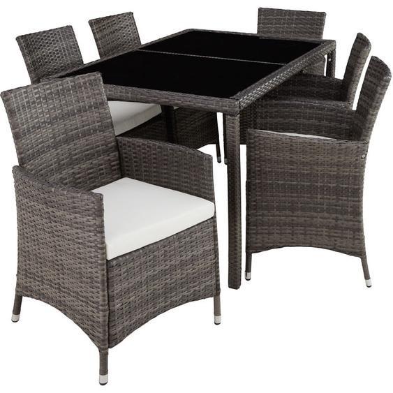 Rattan Sitzgruppe Lissabon 6+1 mit Schutzhülle - Gartenlounge, Terrassenmöbel, Rattan Lounge - grau