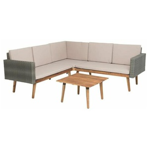 Rattan Sitzgruppe Lounge Set Garten Terrasse Möbel Sitz Garnitur grau Outdoor - ESTEXO