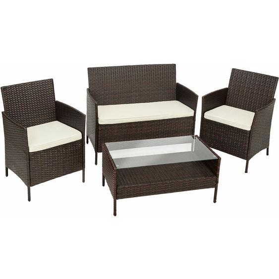 Rattan Sitzgruppe Madeira 3+1 - Gartenlounge, Terrassenmöbel, Rattan Lounge - braun