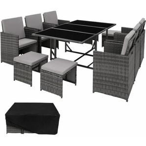 Rattan Sitzgruppe Malaga 6+4+1 mit Schutzhülle, Variante 2 - Gartenlounge, Terrassenmöbel, Rattan Lounge - grau - TECTAKE