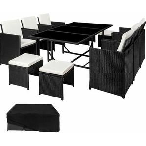 Rattan Sitzgruppe Malaga 6+4+1 mit Schutzhülle, Variante 2 - Gartenlounge, Terrassenmöbel, Rattan Lounge - schwarz - TECTAKE
