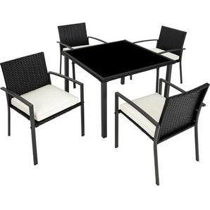 Rattan Sitzgruppe Meran 4+1 - Gartenlounge, Terrassenmöbel, Rattan Lounge - schwarz - TECTAKE