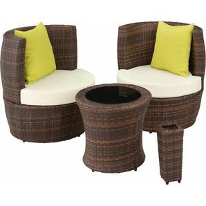 Rattan Sitzgruppe Nizza - Gartenlounge, Terrassenmöbel, Rattan Lounge - schwarz/braun - TECTAKE