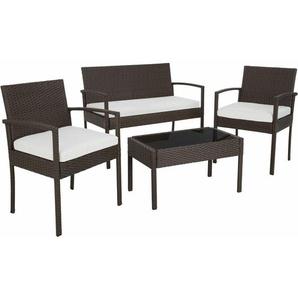 Rattan Sitzgruppe Sparta 3+1 - Gartenlounge, Terrassenmöbel, Rattan Lounge - braun - TECTAKE