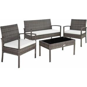 Rattan Sitzgruppe Sparta 3+1 - Gartenlounge, Terrassenmöbel, Rattan Lounge - grau - TECTAKE