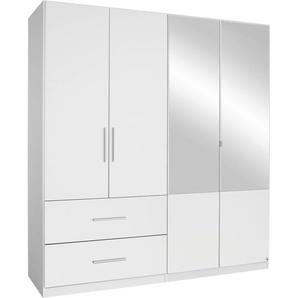 Rauch Kleiderschrank »Alvor«, T/H 54/197 cm, mit Spiegeltüren, mit Spiegel, weiß, mit je 2 breiten Schubkästen