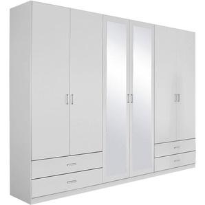 Rauch Kleiderschrank »Bobona«, T/H 54/210 cm, mit 4 großen Schubkästen für mehr Stauraum, weiß, mittig mit Spiegeltüren