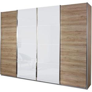 Rauch Schwebetüren-Schrank, Breite 361 cm, Höhe 211 cm, beige, Türen mit Spiegelauflagen