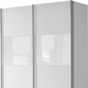 Rauch Schwebetürenschrank »Quadra«, T/H 62/210 bzw. 230 cm, Breite 136 cm, weiß, Höhe 210 cm, Front mit Glaselementen