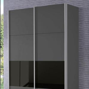 Rauch Schwebetüren-Schrank »Quadra«, T/H 62/210 bzw. 230 cm, Breite 136 cm, grau, Höhe 230 cm, Front mit Glaselementen