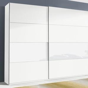 Rauch Schwebetürenschrank »Quadra«, T/H 62/210 bzw. 230 cm, Breite 315 cm, weiß, Höhe 230 cm, Front mit Glaselementen