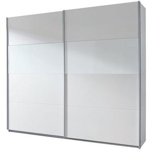 Rauch Schwebetürenschrank 2-türig Weiß Alpin, Absetzung Milchglas, BxHxT 226x210x62 cm
