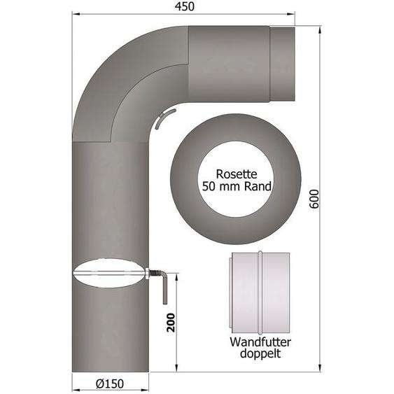 Rauchrohrset Ofenrohr Rauchrohr Fullform Set Rohr 2mm Stahlblech 150mm
