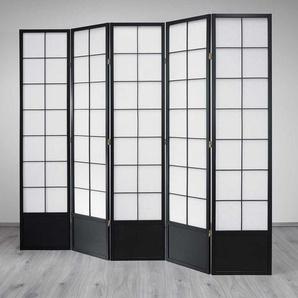 Raumteiler Paravent in Schwarz Wei� 205 cm breit