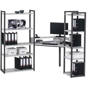 Raumteilerregal mit Schreibtisch Hellgrau Anthrazit