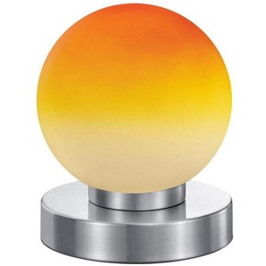 Reality Kugellampe Lampe Tischleuchte Touch Me Dimmer ~ Nickel matt, Glas opal orange