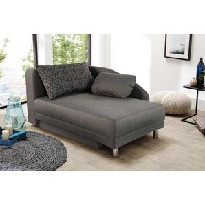 Recamiere in grauem Webstoff, inkl. Gästebettfunktion und Bettkasten, Federkernpolsterung, Maße: B/H/T 90/71-80/149 cm
