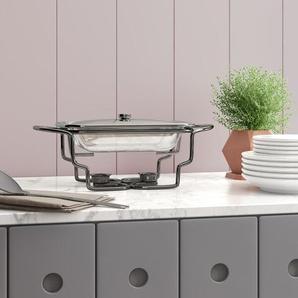 Rechteckiger Speisenwärmer aus Edelstahl mit Glasteller Marinex