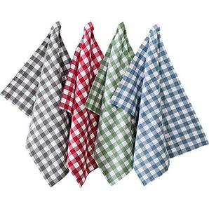 REDBEST Geschirrtuch 4er-Pack Baumwolle grau/blau/rot/grün Größe 50x70 cm
