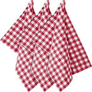 REDBEST Geschirrtuch, Küchentuch 3er-Pack Baumwolle rot Größe 50x70 cm - im Karomuster, saugstark, strapazierfähig, 100% Baumwolle