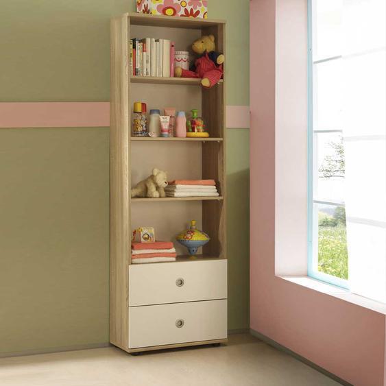 Regal in Weiß und Eiche Sonoma Babyzimmer